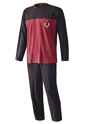 Herren Pyjama lang in verschiedenen Ausführungen Herren Schlafanzug Übergrösse Plusgrösse lang Hausanzug Herren aus 100% Baumwolle Model Vintage (L/52, Adamo Rot) - Rot Herren Schlaf-hose