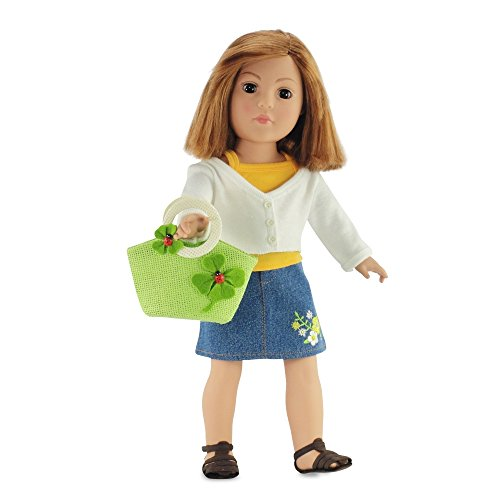 Emily Rose Doll Clothes 18 Inch Doll Ladybug Green Straw Purse Bag   Fits American Girl   Dolls Accessories