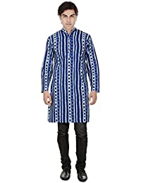 Beautiful Straight Printed Cotton Blue Men's Long Kurta from the house of Aprique Fab