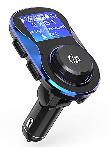 Bluetooth FM Transmitter, Babacom Auto Adapter Freisprecheinrichtung Auto Ladegerät Integriertem mit USB-Aufladeeinheits, Unterstützt TF Karte/USB-Stick für iPhone Samsung Galaxy Huawei iPad (Blau)