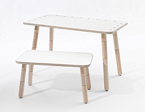 "Kindertisch + Sitzbank ""growing table"" von Pure Position - weiß beschichtet"