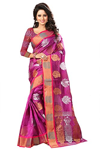 Spangel Fashion Dancing Flower Print Silk Saree For Women (Color_Dark Pink)