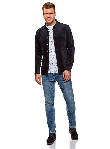 oodji Ultra Herren Hemd Slim Fit Aus Kord Blau (7900N)
