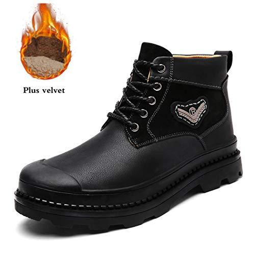 Zxcer Herren Winter High Top Fashion Sneaker Pelz Gefütterte Skate Schuhe Outdoor Sport Warme Ankle Schnee Stiefel (Farbe : Schwarz, Größe : 40 EU) -
