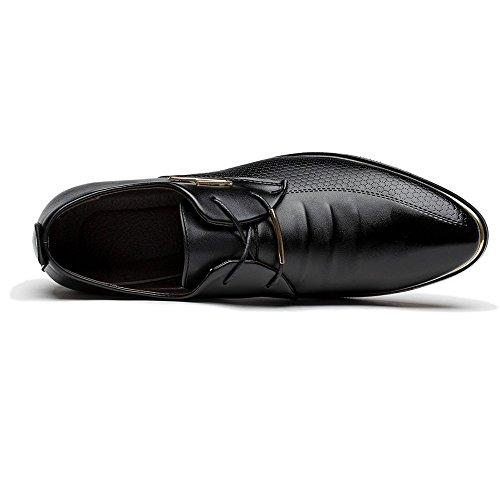 Blivener Men Bussiness Lace-up Dress Shoes Casual Wedding Pointed Toe Oxfords Black UK13/EU48