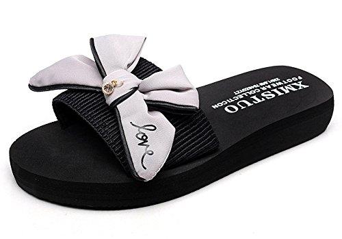 Minetom Donne Estate Casuale Bowtie Sandali Pantofole con Plateau e Delle Signore Spiaggia Piscina Femminili Grigio