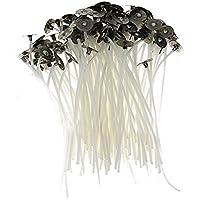 leisial 100pcs naturales para hacer velas Kit Pre encerado mechas baja emisión de humo para, DIY de loto (6cm)