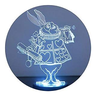 Alice in Wonderland White Rabbit Colour Changing LED Acrylic Light