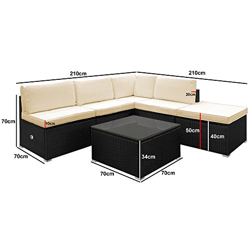 Deuba Poly Rattan Aluminium Lounge Set Schwarz   wetterbeständiges Alu-Gestell   Einzelelemente flexibel kombinierbar   UV-beständiges Polyrattan   Sitzgarnitur Couch Sitzgruppe Bild 6*