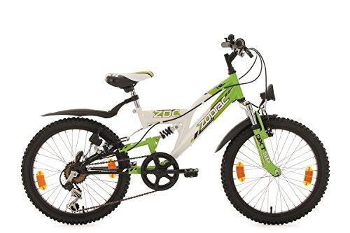 KS Cycling Kinder Kinderfahrrad Mountainbike Fully 20\'\' Zodiac weiß-grün RH 31 cm Fahrrad, 20