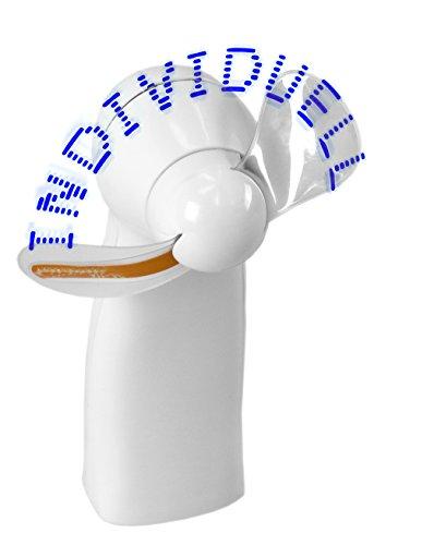 Ventilator mit Ihrem Wunschtext individuell programmiert in 9 Zeilen mit je 19 Zeichen, Schrift mit 11 blauen LED, Handventilator, Leuchtventilator