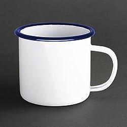 6x Olympia taza esmaltada 350ml 12fl oz vaso de acero inoxidable apto para lavavajillas
