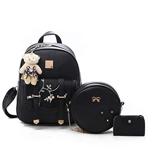 Fsweeth Tasche weibliche süße Dame Anzug bestickte Handtasche Umhängetasche, schwarz -