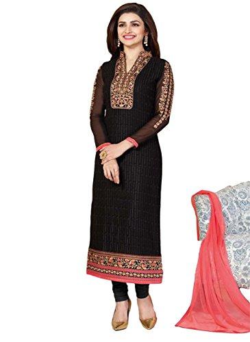 Justkartit Black Colour Straight Cut Wedding Wear Salwar Kameez / Office Wear Salwar Suit / Party wear Salwar Suit (Ceremony + Casual Salwar Suit)