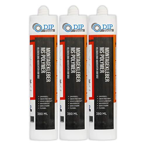 DIP-Tools Universal-Montagekleber - extra stark zum Kleben und Dichten - weiß (3, 280ml)