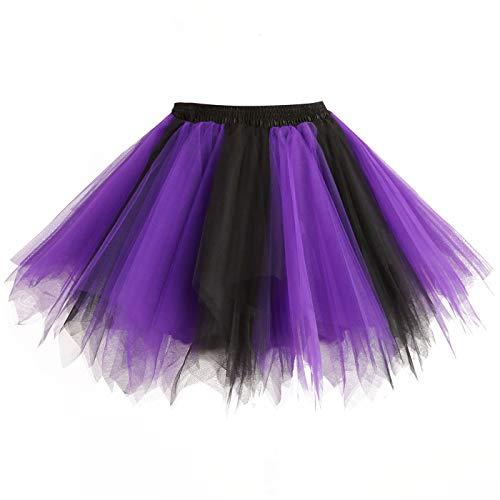 GirstunmBrand Damen 50er Vintage Tüllrock Petticoat Mehrfarbig Bubble Tanzkleid Rock Schwarz Purple-XXL