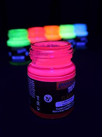 Peinture UV fluorescente dans le noir pour textile, rose, 50 ml