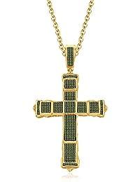 Silvernshine 1CT Round Peridot Sim Diamonds Jesus Cross Pendant Charm In 14K Yellow Gold Finish