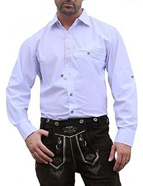 Trachtenhemd für Trachten Lederhosen Trachtenmode Edelweiß Bestickt weiß