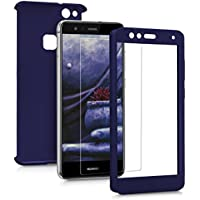 kwmobile Funda para Huawei P10 Lite - case protector completo de plástico duro - Backcover con protector de pantalla incluido en azul oscuro metalizado
