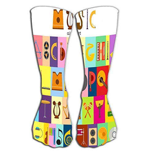Hohe Socken Outdoor Sports Men Women High Socks Stocking music alphabet font text symbols musical instrument decorative education notes hand mark calligraphy musician poster Tile length 19.7