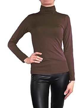 Muse Camiseta de manga larga y cuello alto para mujer, cálida, elástica
