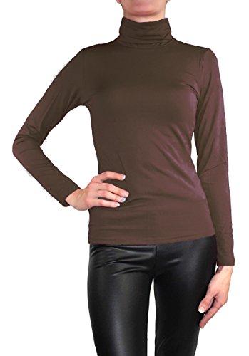 Muse Damen Langarm warmes Stretch Pullover Rollkragen Thermo Pulli Top (M / 38, Schoko Braun) (Rollkragen-pullover)