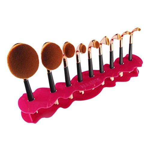 Clode® 10 trous organisateur de la grille de séchage du support de brosse de maquillage ovale outil de plateau cosmétique (Rose vif)