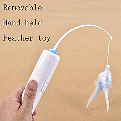 Vealind Cat Indoor Interactive Teaser Toy with 360° Electric Rotating Feather Toys & Ringing Bell Ball
