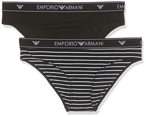 Emporio Armani Underwear Damen Ladies Knitted BI-PA Taillenslip, Schwarz RIGA BIAN./Nero 62920, 36 (Herstellergröße:S)