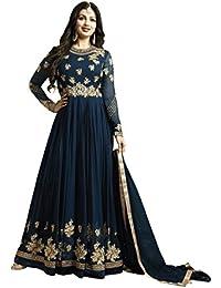 Mordenfab Women's Blue Faux Georgette Anarkali Suit (Blue_Free Size)