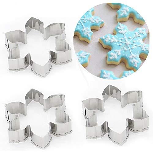 Ausstecher set schneeflocke form edelstahl schokoladenkuchen dekoration DIY fondantform (3 STÜCKE)