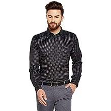 Hancock Black Prined Slim Fit Pure Cotton Formal Shirt-9373Black