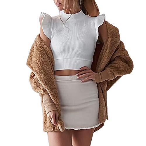 LoveLeiter Damen Kapuzen Flauschiger Mantel Strickjacke Mantel Outwear -