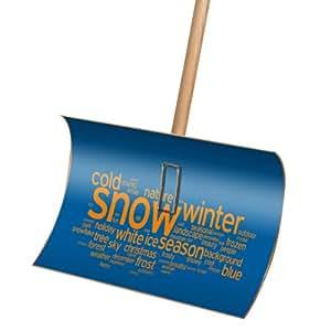 Premium Schneeschieber Schneeschaufel Holz mit Motiv Snow Words 55x35x135cm