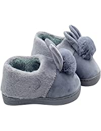 Zapatillas De Casa Suaves Peluche Caliente Mujer Cerradas Calienta Comodidad El Conejo Al Aire Libre Pantuflas