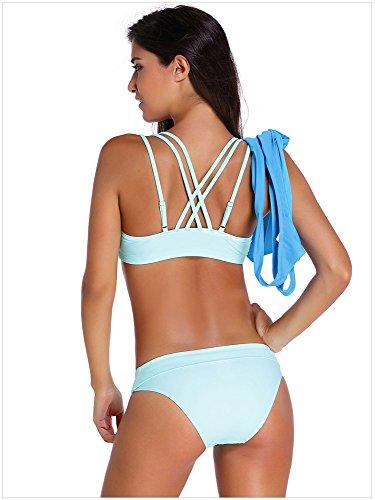 Minetom Bikini Damen Summer Tankinis Mehrfarben Skort Bottom Set Zweiteilig Bademode Sport Yoga Fitness Three Teilig Buntem Muster Blau