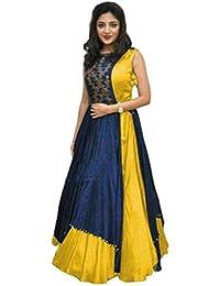 Shree Women's Silk Unstitched Lehenga Choli (SRENT011_Multi-Coloured_Free Size)