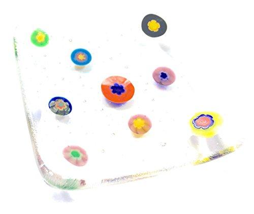 Rainbow Millefiori Plat à bijoux – Style vénitien Fusionné Bol en verre – Photophore, bijoux, Porte-savon, clés, Bibelots