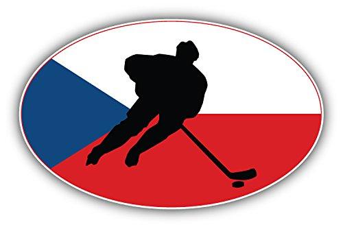 postwalldecor Czech Republic Flag Hockey Label Hochwertigen Auto-Autoaufkleber 12 x 8 cm