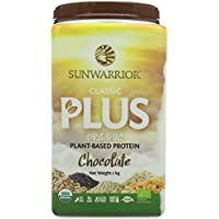 Sunwarrior Classic Plus Organic Plant Based Vegan Protein Powder, Chocolate, 1kg