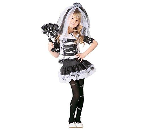 Monster Braut Kostüm für Mädchen Gr. 98 - 146, Größe:110/116