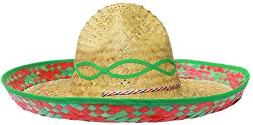 Mexikanische Sonnenblume Sombrero Deluxe Stroh Hut Fancy Kleid Kostüm von Ilovefancydress® erhältlich in vielfachen von: X1-X6-X12-X24-x48-X100, grün, 24er-Pack