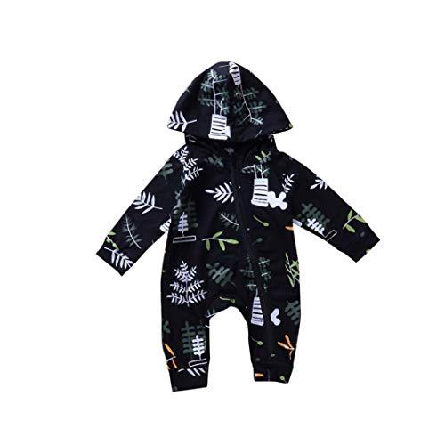 Jimmackey neonato foglia stampa pagliaccetto felpa maniche lunghe cerniera tuta body vestiti, bambino da 6 a 24 mesi