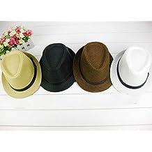 philna12encantador Vintage pajita trenzado Caballero sombrero playa sol HAT-BLACK