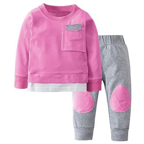 i-uend 2019 Baby 2 stück Sets-Herbst neugeborenen Jungen mädchen t-Shirt Tops + Hosen Outfits Kleidung für 0-24 Monate - 2 Stück Set Matratze