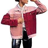 ABsoar Mantel Frauen Langarm Farbe Patchwork Outerwear Pocket Cotton Cardigan Jacke Bluse Kurz Mantel Felljacke Tops