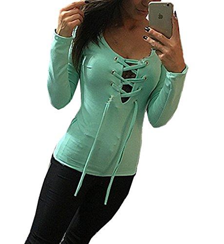 Seide Ketten-print T-shirt (LemonGirl Damen Tau Brust Tiefes V-Ausschnitt Pullover Bluse T-shirt)