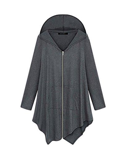 ZKOO Felpa con Cappuccio Sweatshirt Maniche Lunghe Camicie Zipper Casual – Donna