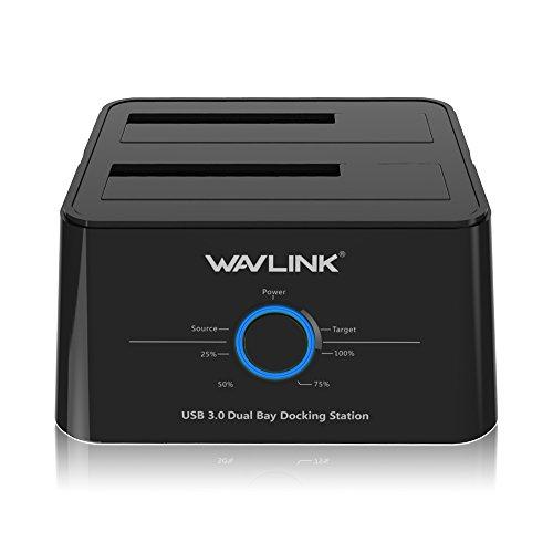 Wavlink Dual Bay SATA zu USB3.0 Externe Festplatten Docking Station für 2,5 oder 3,5-Zoll-HDD, SSD mit Festplatten Kopierer / Klone-Funktion- Schwarz (Externe Festplatte Dual)